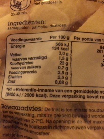12 suikervrij friet achterkant